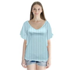 Stripes Striped Turquoise Flutter Sleeve Top