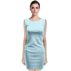 Stripes Striped Turquoise Sleeveless Velvet Midi Dress