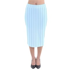 Stripes Striped Turquoise Velvet Midi Pencil Skirt
