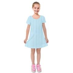 Stripes Striped Turquoise Kids  Short Sleeve Velvet Dress