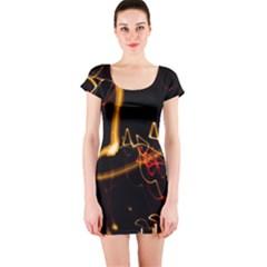 Abstract Short Sleeve Bodycon Dress