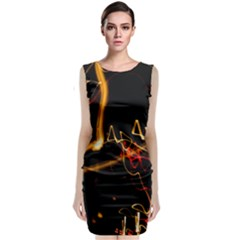 Abstract Classic Sleeveless Midi Dress