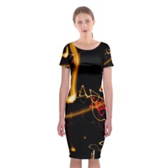 Abstract Classic Short Sleeve Midi Dress