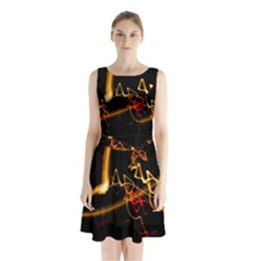 Abstract Sleeveless Chiffon Waist Tie Dress