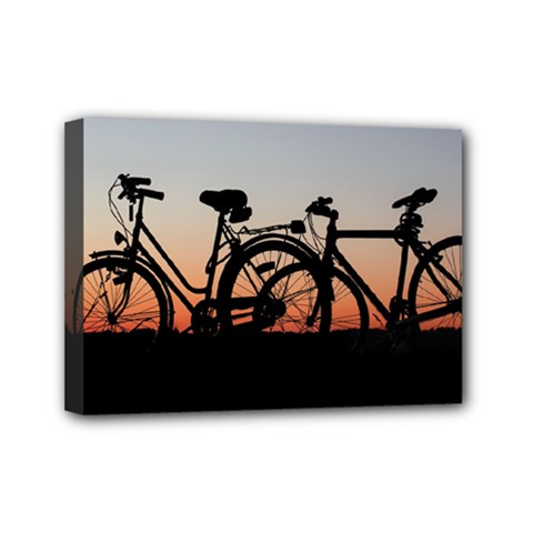 Bicycles Wheel Sunset Love Romance Mini Canvas 7  X 5