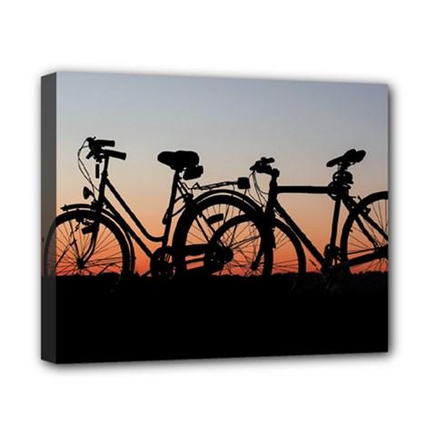 Bicycles Wheel Sunset Love Romance Canvas 10  X 8