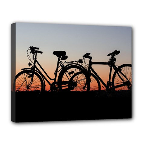Bicycles Wheel Sunset Love Romance Canvas 14  X 11