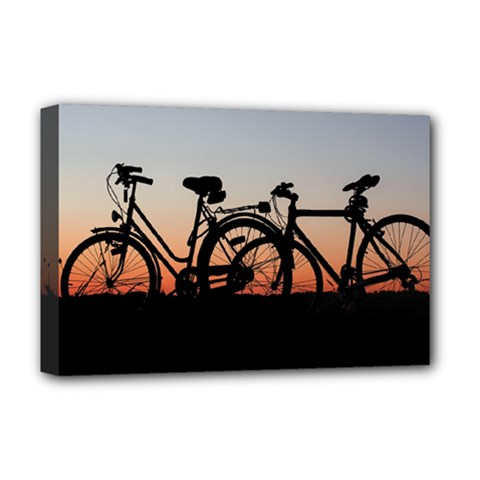 Bicycles Wheel Sunset Love Romance Deluxe Canvas 18  X 12