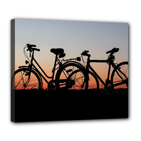 Bicycles Wheel Sunset Love Romance Deluxe Canvas 24  X 20