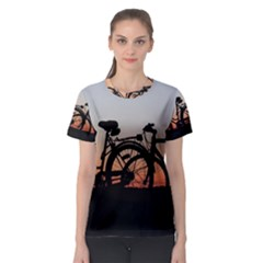 Bicycles Wheel Sunset Love Romance Women s Sport Mesh Tee