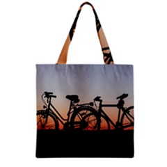 Bicycles Wheel Sunset Love Romance Grocery Tote Bag