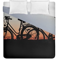 Bicycles Wheel Sunset Love Romance Duvet Cover Double Side (king Size)