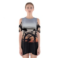 Bicycles Wheel Sunset Love Romance Shoulder Cutout One Piece