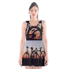 Bicycles Wheel Sunset Love Romance Scoop Neck Skater Dress