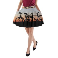Bicycles Wheel Sunset Love Romance A Line Pocket Skirt