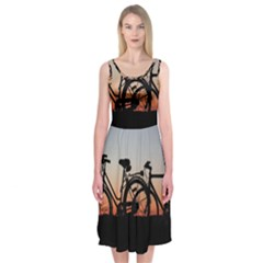 Bicycles Wheel Sunset Love Romance Midi Sleeveless Dress