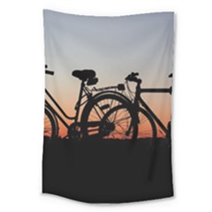 Bicycles Wheel Sunset Love Romance Large Tapestry