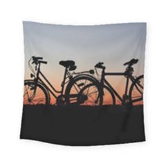Bicycles Wheel Sunset Love Romance Square Tapestry (small)