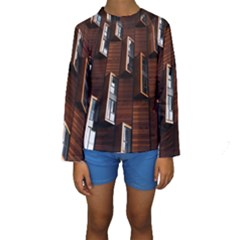 Abstract Architecture Building Business Kids  Long Sleeve Swimwear