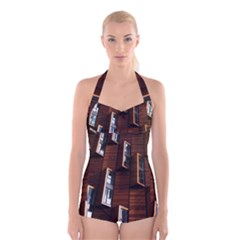 Abstract Architecture Building Business Boyleg Halter Swimsuit