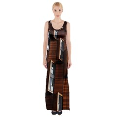Abstract Architecture Building Business Maxi Thigh Split Dress