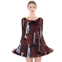 Abstract Architecture Building Business Long Sleeve Velvet Skater Dress