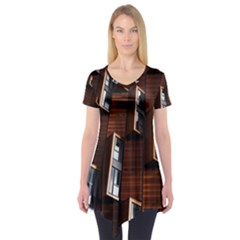 Abstract Architecture Building Business Short Sleeve Tunic