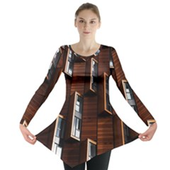 Abstract Architecture Building Business Long Sleeve Tunic