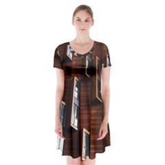 Abstract Architecture Building Business Short Sleeve V Neck Flare Dress