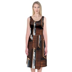 Abstract Architecture Building Business Midi Sleeveless Dress