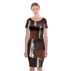 Abstract Architecture Building Business Classic Short Sleeve Midi Dress