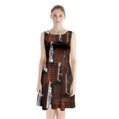 Abstract Architecture Building Business Sleeveless Chiffon Waist Tie Dress