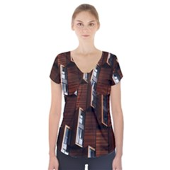 Abstract Architecture Building Business Short Sleeve Front Detail Top