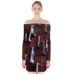Abstract Architecture Building Business Long Sleeve Off Shoulder Dress