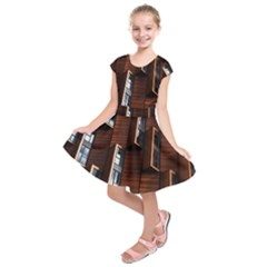 Abstract Architecture Building Business Kids  Short Sleeve Dress