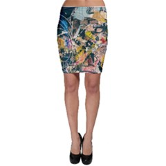 Art Graffiti Abstract Vintage Lines Bodycon Skirt
