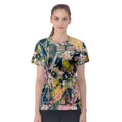 Art Graffiti Abstract Vintage Lines Women s Sport Mesh Tee