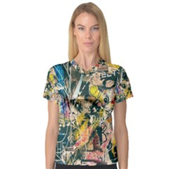 Art Graffiti Abstract Vintage Lines Women s V Neck Sport Mesh Tee
