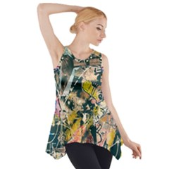 Art Graffiti Abstract Vintage Lines Side Drop Tank Tunic