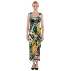 Art Graffiti Abstract Vintage Lines Fitted Maxi Dress