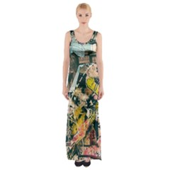 Art Graffiti Abstract Vintage Lines Maxi Thigh Split Dress