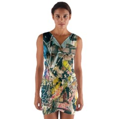 Art Graffiti Abstract Vintage Lines Wrap Front Bodycon Dress