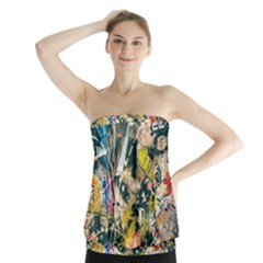 Art Graffiti Abstract Vintage Lines Strapless Top