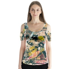Art Graffiti Abstract Vintage Lines Butterfly Sleeve Cutout Tee