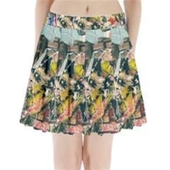 Art Graffiti Abstract Vintage Lines Pleated Mini Skirt