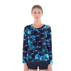 Blue Abstract Balls Spheres Women s Long Sleeve Tee