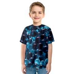 Blue Abstract Balls Spheres Kids  Sport Mesh Tee