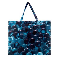 Blue Abstract Balls Spheres Zipper Large Tote Bag