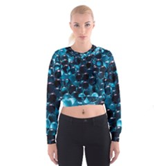 Blue Abstract Balls Spheres Women s Cropped Sweatshirt