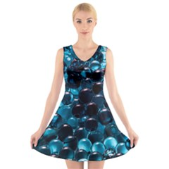 Blue Abstract Balls Spheres V Neck Sleeveless Skater Dress